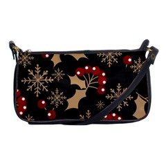 Christmas Pattern With Snowflakes Berries Shoulder Clutch Bag