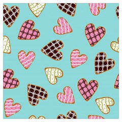 Seamless Pattern With Heart Shaped Cookies With Sugar Icing Long Sheer Chiffon Scarf