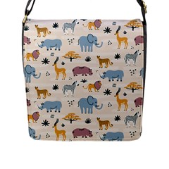 Wild Animals Seamless Pattern Flap Closure Messenger Bag (l)