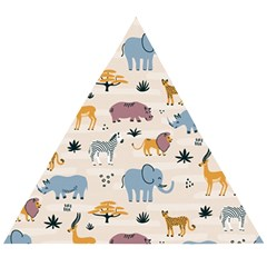 Wild Animals Seamless Pattern Wooden Puzzle Triangle by Vaneshart