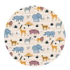 Wild Animals Seamless Pattern Pop Socket (white)