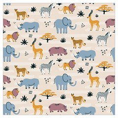 Wild Animals Seamless Pattern Long Sheer Chiffon Scarf