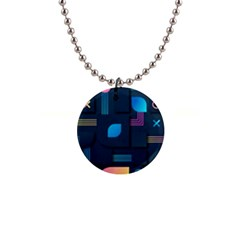 Gradient Geometric Shapes Dark Background 1  Button Necklace