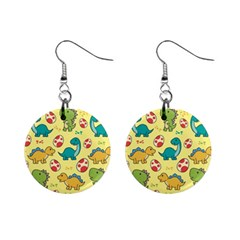 Seamless Pattern With Cute Dinosaurs Character Mini Button Earrings