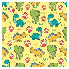 Seamless Pattern With Cute Dinosaurs Character Long Sheer Chiffon Scarf