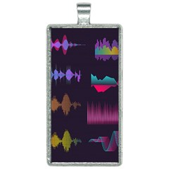 Colorful-sound-wave-set Rectangle Necklace