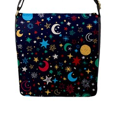 Colorful-background-moons-stars Flap Closure Messenger Bag (l)