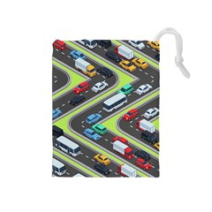 Urban-cars-seamless-texture-isometric-roads-car-traffic-seamless-pattern-with-transport-city-vector- Drawstring Pouch (medium) by Vaneshart