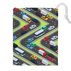 Urban-cars-seamless-texture-isometric-roads-car-traffic-seamless-pattern-with-transport-city-vector- Drawstring Pouch (2xl) by Vaneshart