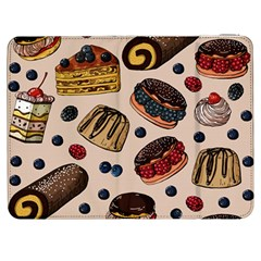 Seamless-pattern-with-sweet-cakes-berries Samsung Galaxy Tab 7  P1000 Flip Case by Vaneshart