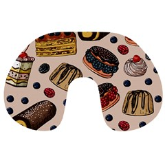 Seamless-pattern-with-sweet-cakes-berries Travel Neck Pillow