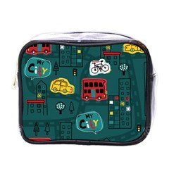Seamless-pattern-hand-drawn-with-vehicles-buildings-road Mini Toiletries Bag (one Side)