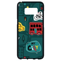 Seamless-pattern-hand-drawn-with-vehicles-buildings-road Samsung Galaxy S8 Black Seamless Case by Vaneshart