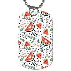 Seamless-vector-pattern-with-watermelons-mint Dog Tag (one Side)