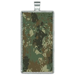 Camouflage-splatters-background Rectangle Necklace