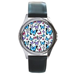 Decorative-festive-trendy-colorful-butterflies-seamless-pattern-vector-illustration Round Metal Watch