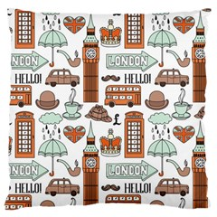 Seamless-pattern-with-london-elements-landmarks Large Cushion Case (one Side)