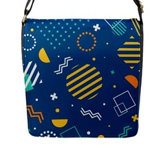Flat-design-geometric-shapes-background Flap Closure Messenger Bag (l)