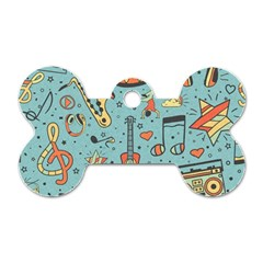 Seamless-pattern-musical-instruments-notes-headphones-player Dog Tag Bone (one Side)