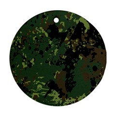 Military Background Grunge Round Ornament (two Sides)