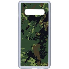 Military Background Grunge Samsung Galaxy S10 Plus Seamless Case(white)