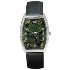 Military Background Grunge-style Barrel Style Metal Watch