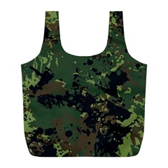 Military Background Grunge-style Full Print Recycle Bag (l)