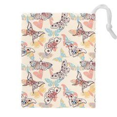 Pattern-with-hand-drawn-butterflies Drawstring Pouch (3xl)