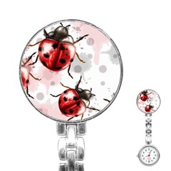 Ladybugs-pattern-texture-watercolor Stainless Steel Nurses Watch by Vaneshart