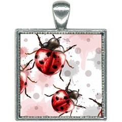 Ladybugs-pattern-texture-watercolor Square Necklace by Vaneshart