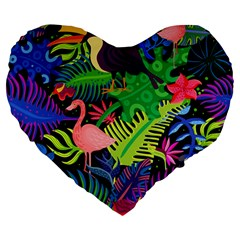 Tropical-exotic-colors-seamless-pattern Large 19  Premium Flano Heart Shape Cushions by Vaneshart