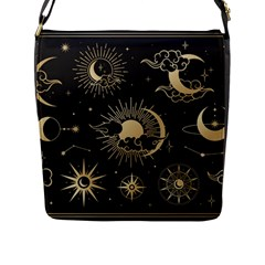 Asian-set-with-clouds-moon-sun-stars-vector-collection-oriental-chinese-japanese-korean-style Flap Closure Messenger Bag (l) by Vaneshart