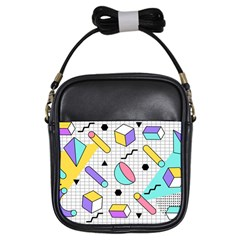 Tridimensional-pastel-shapes-background-memphis-style Girls Sling Bag