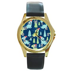 Cute-dinosaurs-animal-seamless-pattern-doodle-dino-winter-theme Round Gold Metal Watch by Vaneshart