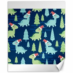 Cute-dinosaurs-animal-seamless-pattern-doodle-dino-winter-theme Canvas 11  X 14