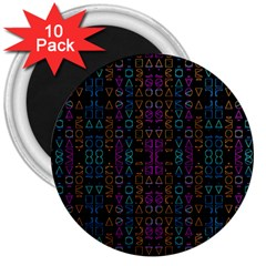 Neon Geometric Seamless Pattern 3  Magnets (10 Pack)