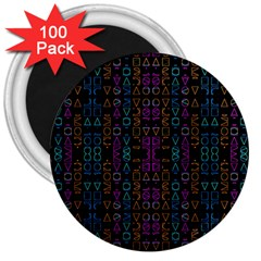 Neon Geometric Seamless Pattern 3  Magnets (100 Pack)
