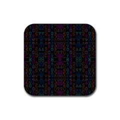 Neon Geometric Seamless Pattern Rubber Coaster (square)