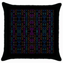Neon Geometric Seamless Pattern Throw Pillow Case (black)