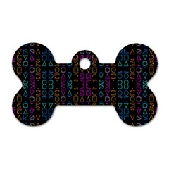 Neon Geometric Seamless Pattern Dog Tag Bone (one Side)