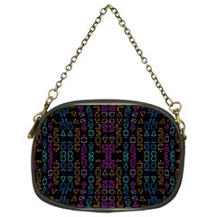Neon Geometric Seamless Pattern Chain Purse (two Sides)