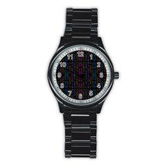 Neon Geometric Seamless Pattern Stainless Steel Round Watch