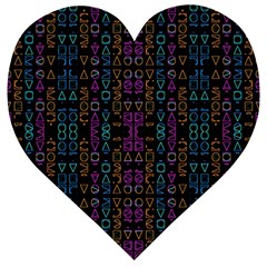 Neon Geometric Seamless Pattern Wooden Puzzle Heart