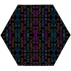 Neon Geometric Seamless Pattern Wooden Puzzle Hexagon