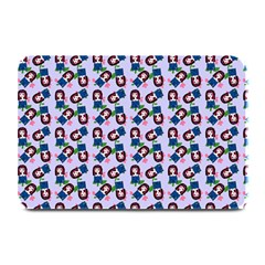 Goth Girl In Blue Dress Lilac Pattern Plate Mats by snowwhitegirl
