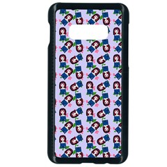 Goth Girl In Blue Dress Lilac Pattern Samsung Galaxy S10e Seamless Case (black)