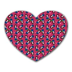 Goth Girl In Blue Dress Pink Pattern Heart Mousepads by snowwhitegirl
