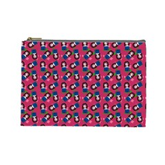 Goth Girl In Blue Dress Pink Pattern Cosmetic Bag (large) by snowwhitegirl
