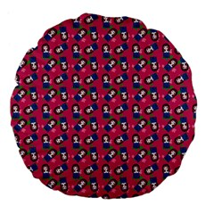 Goth Girl In Blue Dress Pink Pattern Large 18  Premium Flano Round Cushions by snowwhitegirl