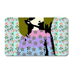 Girl With Star Striped Dress Magnet (rectangular)